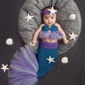 Newborn Girl Photography Props 3 Pack Contrast Mesh Knit Mermaid Prop Set