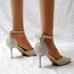 Bow Decor Ankle Strap Pumps