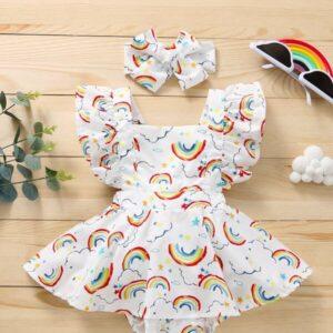 Baby Girl Rainbow Print Combo Bodysuit Dress With Headband