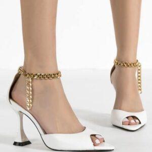 Peep Toe Chain Decor Heels
