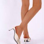 Faux Pearl Decor Floral Lace Mule Heels