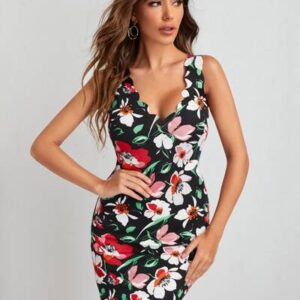 Plunging neck scallop edge floral dress