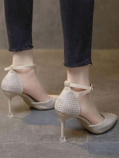 Braided Ankle Strap Stiletto Pumps