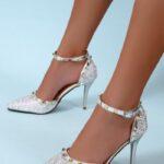 EMERY ROSE Studded Decor Stiletto Ankle Strap Pumps