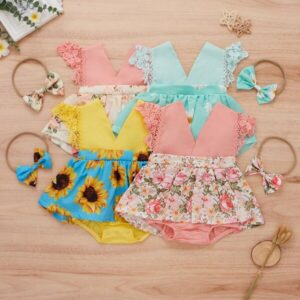 Baby Floral Lace Trim 1 Combo Bodysuit Dress With 1 Headband