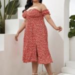 CURVY Off Shoulder Frilled Ditsy Floral Split Thigh Dress