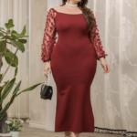 CURVE/PLUS Contrast Mesh Sleeve Appliques Mermaid Dress