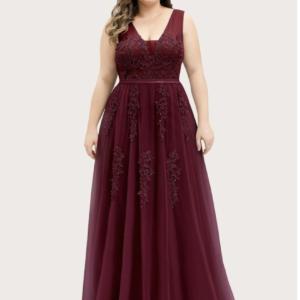 EVER-PRETTY CURVE/PLUS Applique Mesh Prom Dress