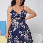 Curve Twist Front Tie Back Floral Print Cami Dress