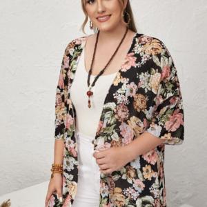 CURVE/PLUS Allover Floral Print Kimono