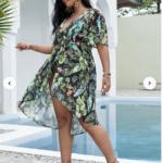 CURVE/PLUS Tropical Print Open Front Kimono