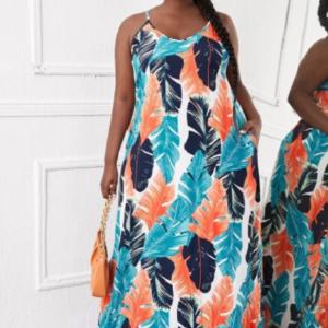 CURVE/PLUS Tropical Print Backless Maxi Cami Dress