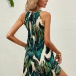 Tropical Print Tie Back Dress